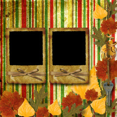Grunge papers design in scrapbooking style with frame and autumn