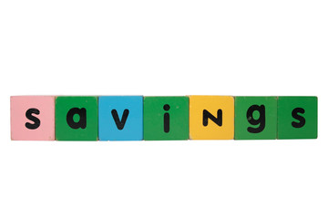 savings in wooden toy block letters