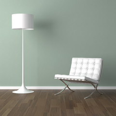 white barcelona chair and lamp on green