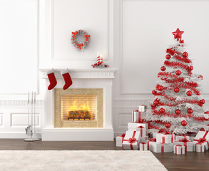 white and red christmas fireplace interior