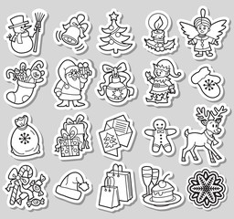 20 Christmas black and white icons