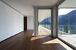 interno di casa moderna con vista lago e montagne