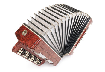 Brown bayan (accordion) top view on white background