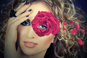 woman with rose mask