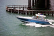 Blue ans White Sport Fishing Boat