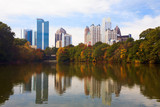 Midtown Atlanta reflected in lake.