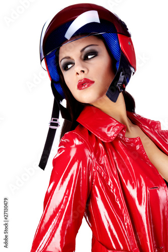 Sexy biker.  woman in red