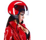Fototapety Sexy biker.  woman in red
