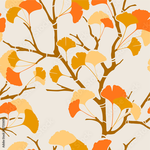 seamless pattern with ginkgo leaves © kusuriuri