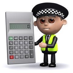 3d Policeman calculates the fine