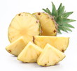 Cut ripe pineapple with rich green rosette.