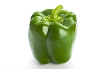 Colourful peppers on white background