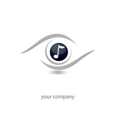 logo entreprise, oeil note de musique