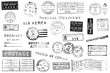 canvas print picture - Set of Vintage Postal Marks