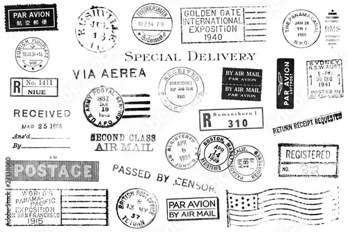 canvas print picture Set of Vintage Postal Marks