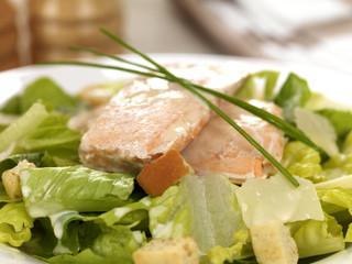 Poached Salmon and Caesar Salad