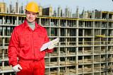 smiling builder inspector worker poster
