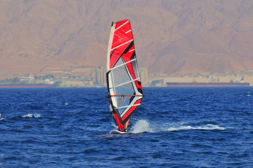 Windsurfing in a red sea