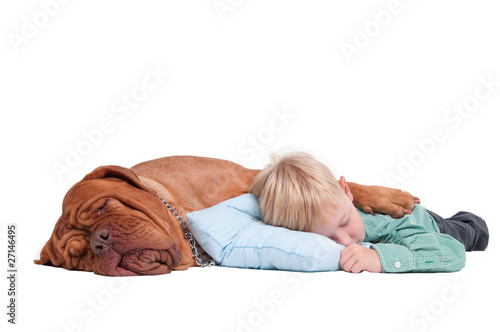Boy and dog asleep on the floor