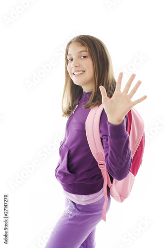 Beautiful schoolgirl with backpack, gesturing and greeting