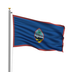Flag of Guam waving in the wind in front of white background