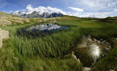 Montagne, Glacier et lac