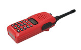 Red walkie talkie on white background