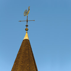 Golden rooster wind vane.
