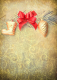 Vintage Christmas decoration - picture in retro style