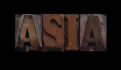the word Asia in old letterpress wood type
