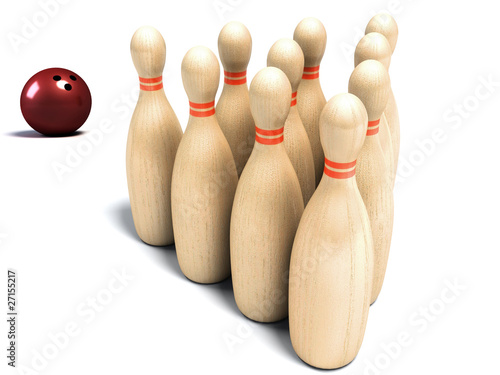 Bowling pin and ball on white background