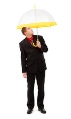 Man with yellow umbrella