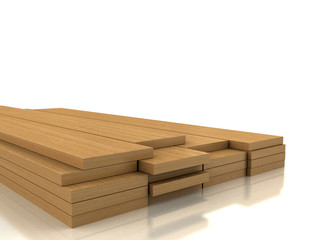 Pile of wood on white