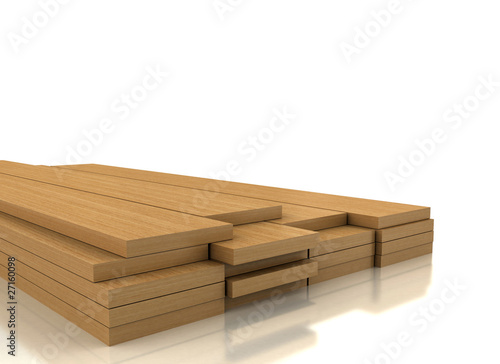 Tuinposter Hout Pile of wood on white