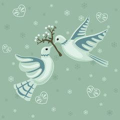 Christmas seamless pattern with doves