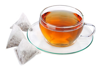 Cup of tea with pyramid teabags