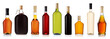 Set of wine and brandy bottles. - 27168416