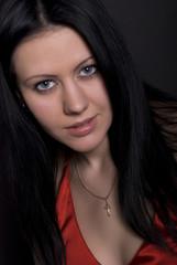 Portrait of a young beautiful seductive brunette