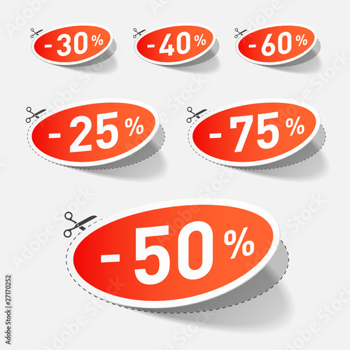 Discount percents with cut line