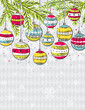 background with christmas balls, vector
