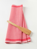 Tea towel and wooden spatula