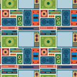 tv radio seamless pattern