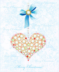 Christmas background with diamond heart and bow