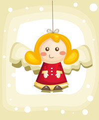Cute cartoon angel, vector illustration