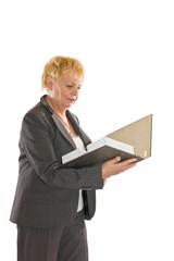 Geschäftsfrau mit Ortner (Freisteller)