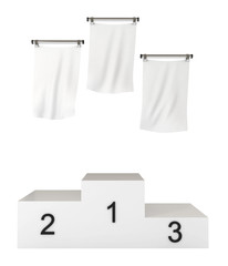 Podium, winners, with blank flags, clipping path included