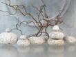 Zweige, runde Steine