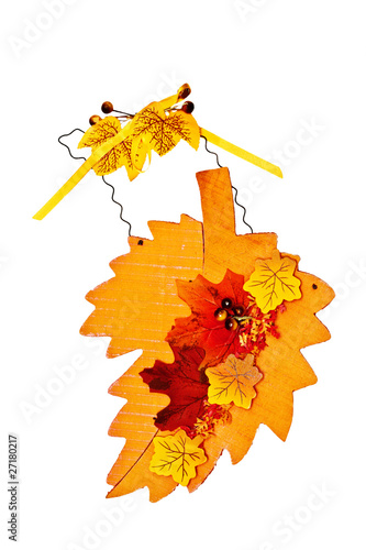 Photo of autumn decoration for door isolated on white