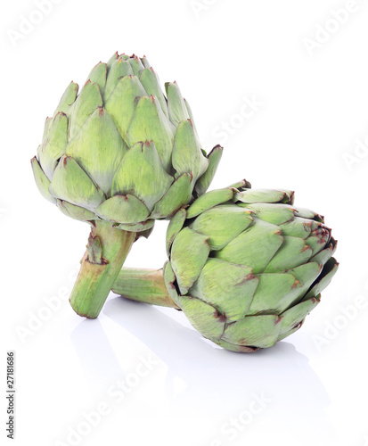 Ripe green artichoke vegetables isolated