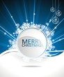 Blue vector Christmas design background with text space.